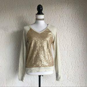 Gold Sequin V-Neck Sweatshirt